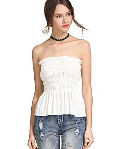 (KAMISSY Women's Frill Smoked Crop Tank Top Bandeau Tube Top Vest (Large, White-2))
