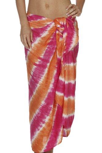 Santiki Tie Dye Striped Full Sarong - Pink/Orange - One Size