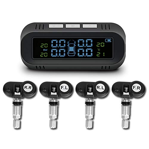 Car Solar TPMS with LCD Display, Universal Auto Tyre Pressure Monitoring System with 4 Internal Sensors, Wireless Tire Pressure Detection Kit for Trucks, Vans