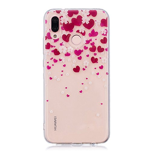 Price comparison product image anzeal Huawei P20 Lite Case,  TPU Rubber Gel Shock-Absorption Bumper,  Anti-Scratch Transparent Back Silicone Back Cover for Huawei P20 Lite Heart