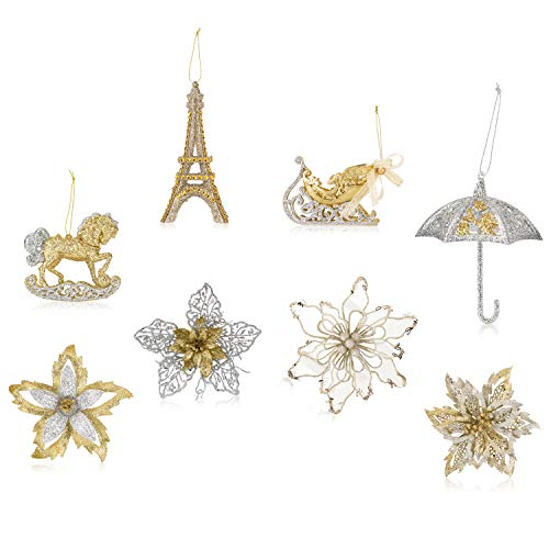 Santa's Gems Christmas Decorations Tree Ornaments Set Silver and Gold in Keepsake (Umbrella Christmas Ornament)