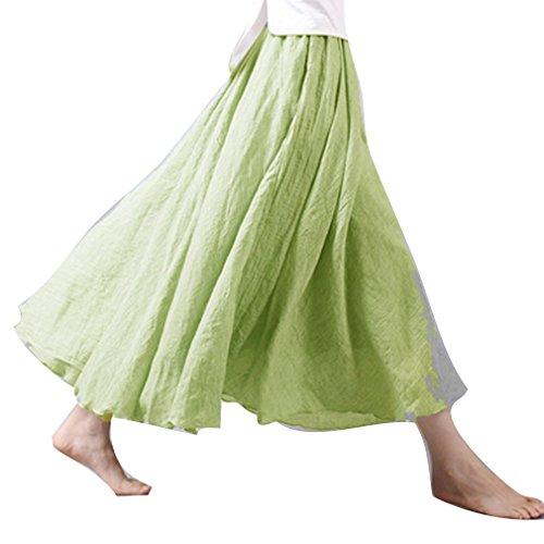 juqilu 20 Couleurs Coton Lin Double Couche Jupe Longues Jupes Dames Taille Haute Jupe Doux Confortable Vert A