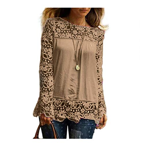 Plus Size Clearance (Women Long Sleeve Shirt,Lady Casual Lace Blouse Loose Cotton Tops (3XL,)
