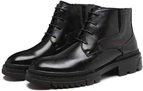 男性の足首の靴レースアップスタイルマイクロファイバーレザー弾性バンドサイドエンボスラウンドトゥ通気性アンチスリップハイキング用半長靴 YueB HAK (Color : ブラック, サイズ : 27 CM)