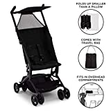Delta Children Ultimate Fold N Go Compact Travel Stroller | Foldable Travel Bag | Umbrella Canopy | Storage Basket | Black