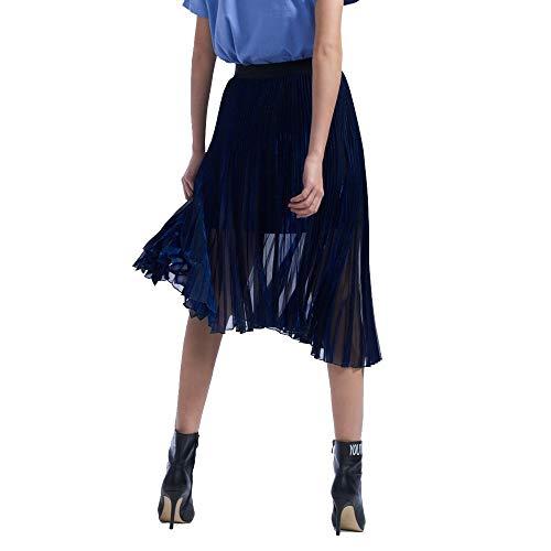 D'été Plissée Taille De DemiLongueurViolet Irrégulier HauteMaille Robes Pure Nouvelles Bleu Couleur 8wPn0kO