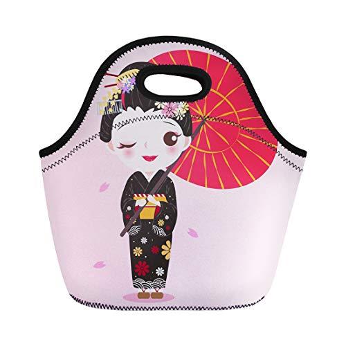 Semtomn Lunch Bags Asian Kimono Beauty Cartoon Geisha Pink Asia Attractive Beautiful Neoprene Lunch Bag Lunchbox Tote Bag Portable Picnic Bag Cooler Bag