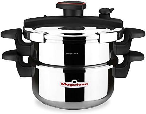 MAGEFESA ASTRA Olla a presión super rápida de fácil uso, acero inoxidable, apta para todo tipo de cocinas, inducción total.5 sistemas de seguridad, fondo termo difusor IMPACT BONDED BOTTOM. (4L + 6L):