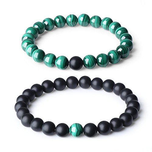 COAI Long Distance Relationship Onyx and Malachite Gemstone Matching Set Bracelet (2pcs)