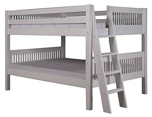 Full Over Full Low Bunk Bed in White Finish