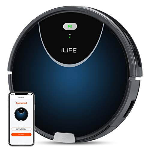 ILIFE V80 Max Robot Vacuum,Wi-Fi Connected,2000Pa Max Suction,Big 750ml Dustbin,Enhanced Suction Inlet,Zigzag Cleaning Path,Self-Charging, Schedule, Ideal for Hard Floor to Low Pile Carpet