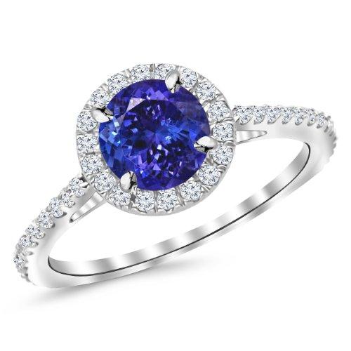 Houston Diamond District 1.4 Carat 14K White Gold Twisting Infinity Diamond Engagement Ring, 6 Tanzanite
