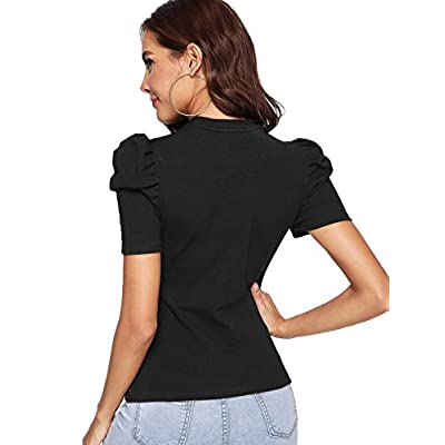 Romwe Women's Elegant Pearl Embellished Puff Short Sleeve Embroidered Blouse Tops at Women's Clothing store