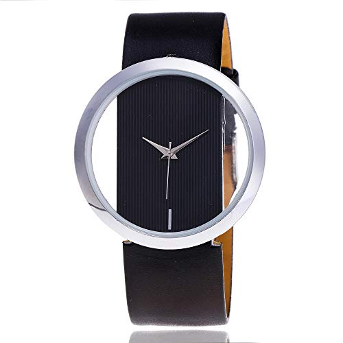 Women Casual Watches,Fashion Super Stylish Multi-Color Easy to Read Leather Band Slim Transparent Dial Hollow Wrist Watch Ultra Thin Dress Analog Quartz Watches (Balck)
