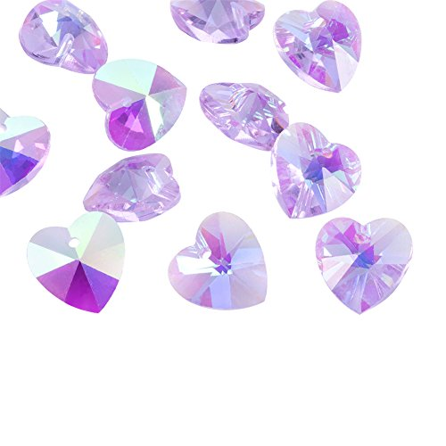 ted Crystal Glass Heart Beads Hanging Pendants AB Color Plated Violet for Bracelet Making 14x8x1mm(0.55