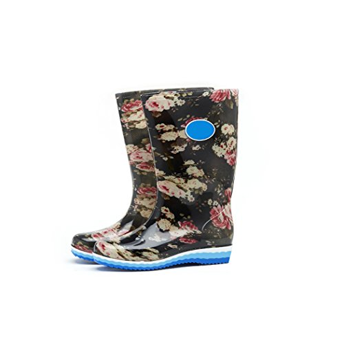 Fashionable Garden Activities HOTER Stylish Rainy Rain Lady Waterproof Day High Outdoor Glitter Skidproof Boots Cylinder Latest Whitepinkflower Work 5aqOaxCwS