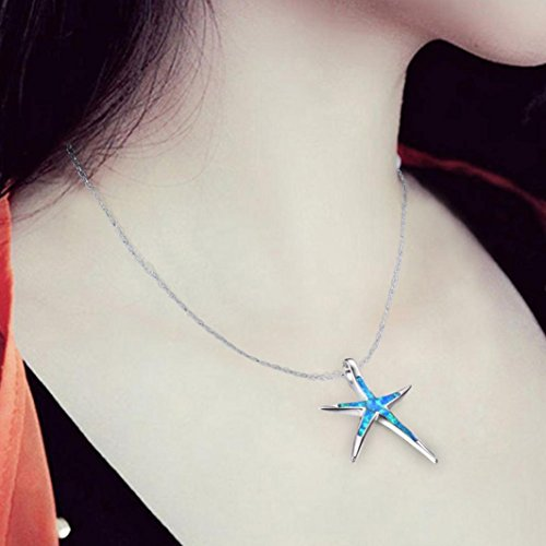 Hemlock Women Girl's Chain Jewelry Necklaces Multilayer Necklaces Lovers Necklaces (Star Fish Blue) ()