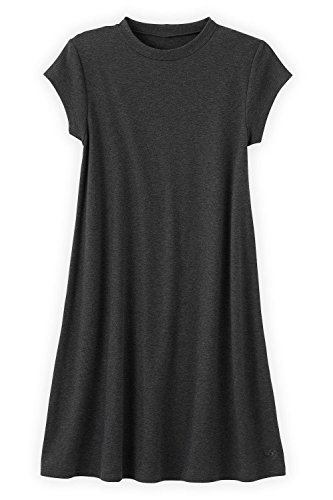 Fair Indigo Fair Trade Organic Swing Dress (M, Dark Charcoal Heather) - Organic Swing Dress