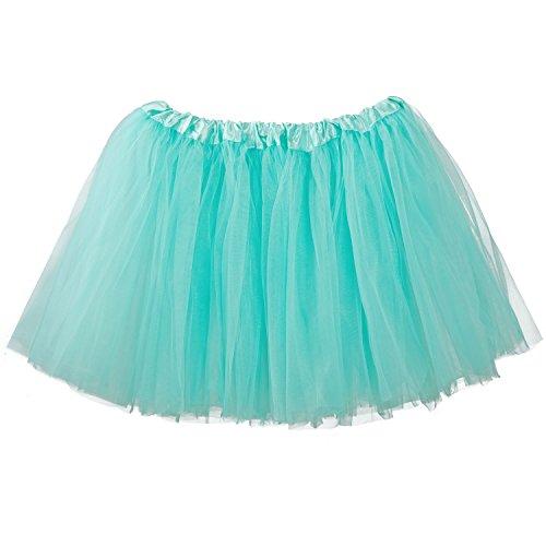 Aqua Fairy Costumes (My Lello Women's, Teen, Adult 3-Layer Ballet Tulle Tutu Skirt -Aqua)