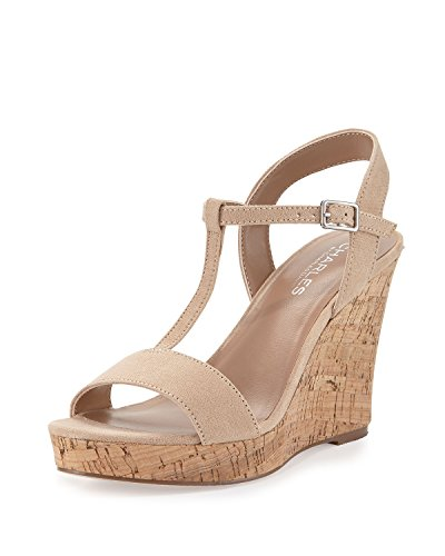 CHARLES BY CHARLES DAVID Women's Libra Suede Wedge Sandal, Nude, Sz- 10 Charles David T-strap Sandals