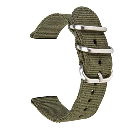 Watch Wristband, 2Pcs Puyujin Compatible Apple Watch Bands 42mm 44mm Tan Nylon iWatch Band Replacement Strap (42mm/44mm, Army Green)