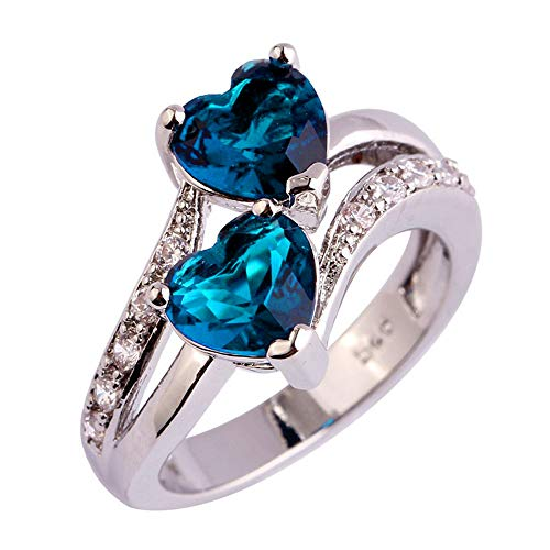Fxbar Crystal Ring, Women Fashion Double Heart Engagement Ring Jewelry New Chic Gemstone Rings for Wedding Prom Party (Blue,8#)