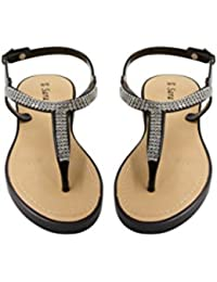 Womens Flat Thong Slingback Sandals with Rhinestones Size (See More Colors and Sizes)