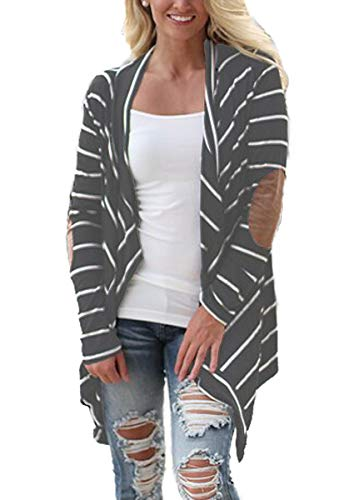 61c6eb4b79 Women s Casual Long Sleeve Open Front Draped Elbow Patch Striped Cardigans