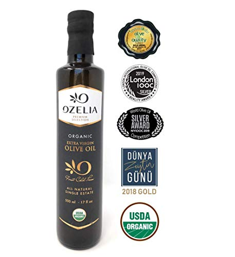 USDA Organic Global Award-Winner Extra Virgin Olive Oil by OZELIA 100% Pure, Single Origin, Cold Pressed, Unfiltered, Non-GMO EVOO- For Cooking, Baking, Salads, Dressing- 17 oz