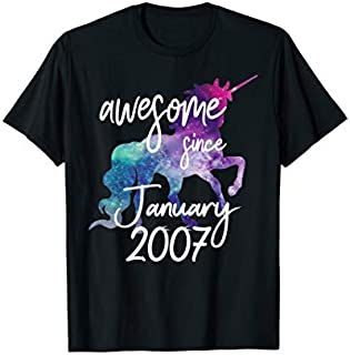 Best Gift Awesome Since January 2007 Unicorn Birthday  Need Funny TShirt / S - 5Xl