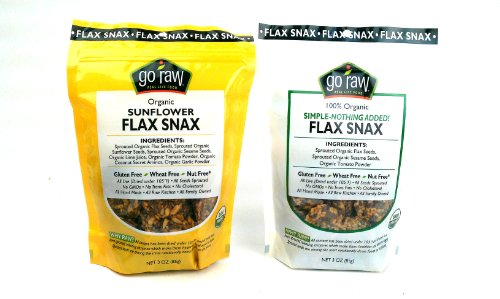 Go Raw Organic Flax Snax, Gluten Free, Wheat Free, Nut Free Crisps, 3oz Bags in Gift Box (Pack of 2)