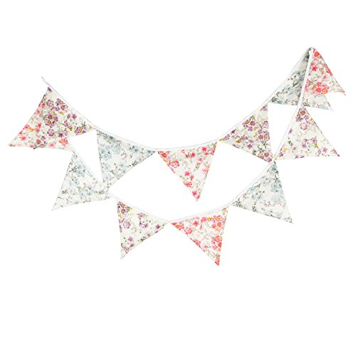 LOVENJOY Vintage Floral Fabric Cotton Bunting Pennant Banner for Wedding Nursery Baby Shower Kids Teepee Decorations (Cute Floral 10.8 ft)]()