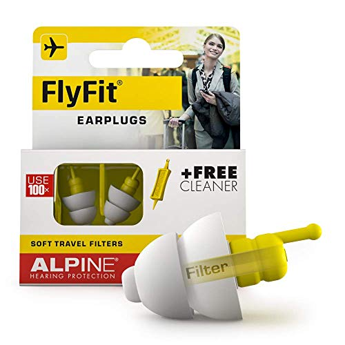 Alpine Hearing Protection FlyFit Airplane Ear Plugs - Pressure Regulating Reusable Ear Plugs Prevent Ear Pain - Soft Travel Ear Plugs - Sleep or Chat with the Hypoallergenic No Silicone Earplugs