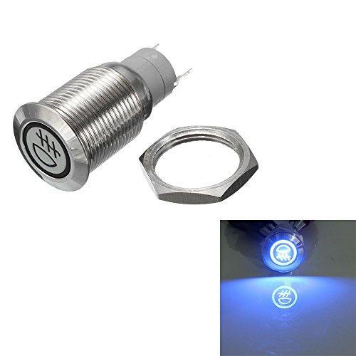 Switch Fog - ESUPPORT 12V Car Vehicle Blue LED Light Fog Push Button Metal Toggle Switch 16mm