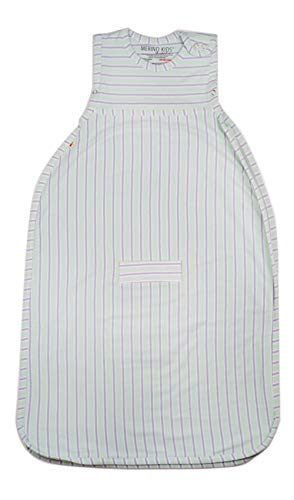 Merino Kids Baby Sleep Bag for Babies 0-2 Years, Light Green/Light Grey Stripe