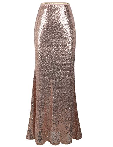 PrettyGuide Women's Maxi Sequin Skirt High Waist Party Prom Mermaid Long Skirts XL Rose Gold (Xl Skirt Maxi)