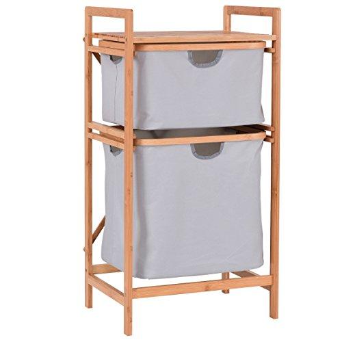 Giantex 2-Drawer Bamboo Storage Shelf Dresser Sliding Cloth Fabric for Closet, Bedroom, Entryway