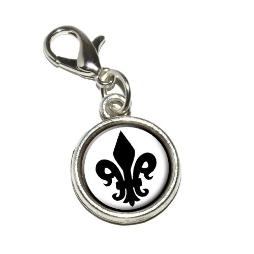(Graphics and More Fleur de Lis Black on White Antiqued Bracelet Pendant Zipper Pull Charm with Lobster Clasp )