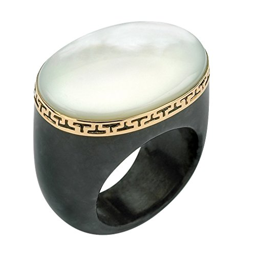 Oval White Mother-Of-Pearl and Black Jade 14k Yellow Gold Greek Key Ring 14k Yellow Gold Jade Ring