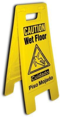 NMC HDFS206 Heavy Duty Floor Stand Sign, Legend ''NO ENTRY RESTROOM CLOSED'', 10-3/4'' Length x 24-5/8'' Height, Black on Yellow