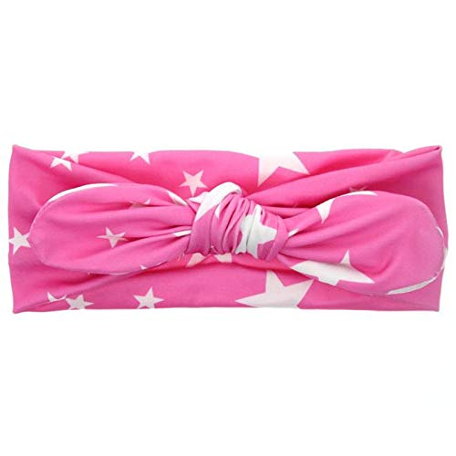 TIANRUN Baby Cute Casual Rabbit Ears Elastic Stars Bowknot Headband (Hot Pink)