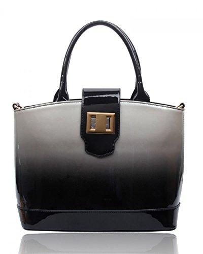 Ladies Faux Leather Quality Handbag Women's Fashion Designer Tote Bag Celebrity Style Quality Bags CWS00329 BLACK TOTE