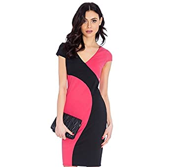 Black & Coral Deep V Neck Cap Sleeve Contrast Midi Dress UK Size 14