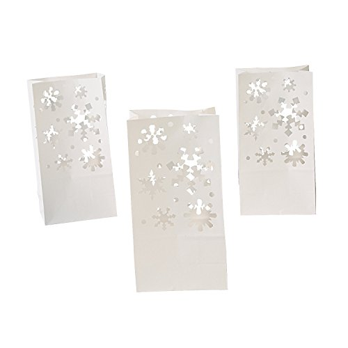 Fun Express Paper Snowflake Luminary Bags | 12 Count | Great for Winter-Themed Christmas Parties Treats, Prizes, and -