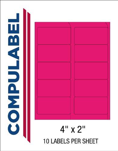 Compulabel 312164 Fluorescent Pink Address Labels for Laser Printers,4 x 2 Inch, Permanent Adhesive, 10 per Sheet, 100 Sheets per Carton