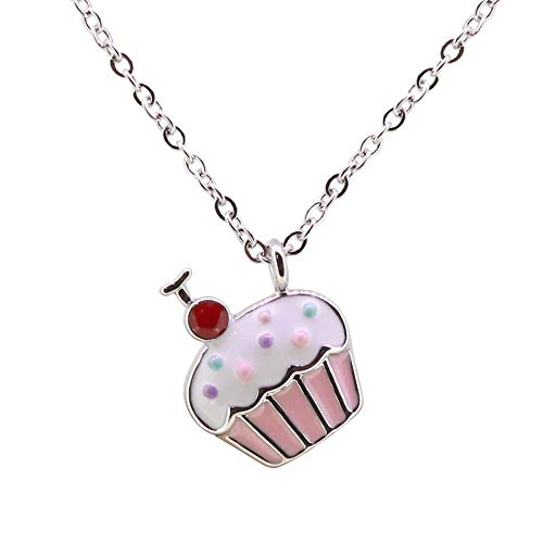 - EGOO YAMEE Silver White Gold Cupcake Necklace Kids Cute Candyland Copper Crystal Enamel Sweet Jewelry Necklace Gifts for Girls