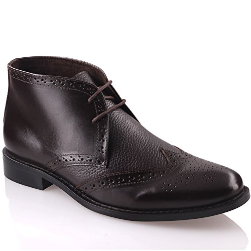 Unze Mens 'Thomson' Laced Up Leather Boots – G00676