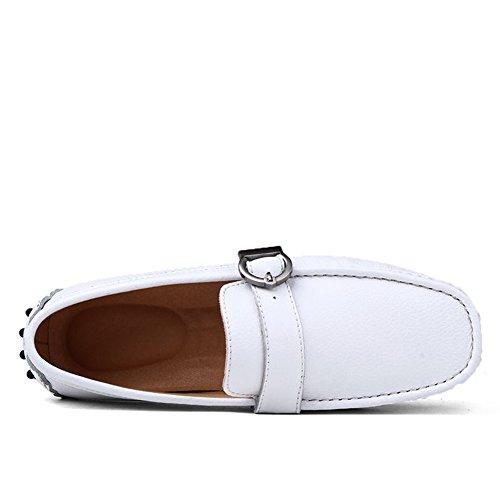 Tentoes Hombres Fashion Driving Casual Mocasines De Cuero Zapatos De Barco Blanco