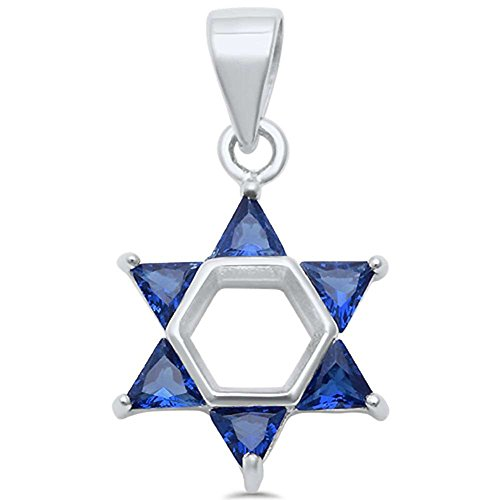 Blue Sapphire Star Pendant - Star of David Pendant Charm Triangle Simulated Blue Sapphire CZ 925 Sterling Silver Jewish Star