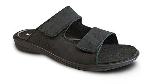 Revere Durban Sandalo Comfort Da Uomo Con Piede Staccabile E Cinturino Regolabile In Pelle Velcro Oliato / Nero